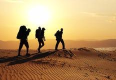 Wanderung in der Wüste Stockfotografie