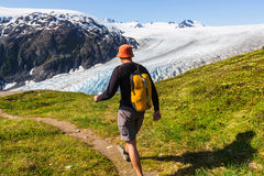 Wanderung im Ausgangsgletscher Lizenzfreie Stockbilder