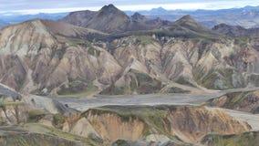 Wanderung Skalli - Landmannalaugar, kurze Wanderung nahe bis zum heißen Quellen stockbild