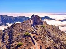 Wanderung zum Höhepunkt auf La Palma, das Muchachos stockfotografie