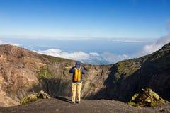 Wanderung zum Vulkan Stockbild