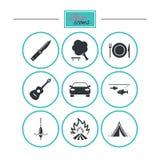 Wanderungsreise, kampierende Ikonen Fischen, touristisches Zelt Lizenzfreie Stockbilder