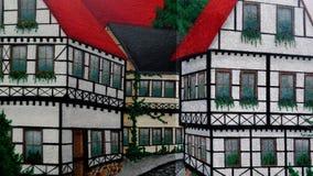 Wandfarbenkunst Half-timbered Häuser Stockbild
