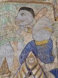 Wandfreskomalerei der THAILÄNDISCHEN ESARN berühmten einzigartigen Geschichte Mythos Stockbilder