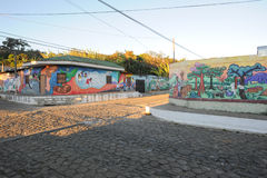 Wandgemälde auf einem Haus bei Ataco in El Salvador Lizenzfreie Stockfotos