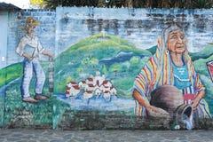 Wandgemälde auf einem Haus bei Ataco in El Salvador Lizenzfreies Stockfoto