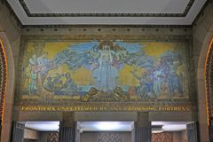 Wandgemälde in BüffelRathaus, New York, USA Lizenzfreies Stockbild