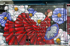 Wandgemälde in der Auftrag-Bezirksnachbarschaft in San Francisco stock abbildung