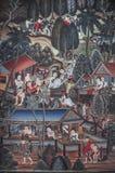 Wandgemälde des alten Alltagslebens der thailändischen Leute lizenzfreie stockbilder