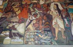 Wandgemälde durch Diego Rivera, Mexiko Stockbild