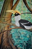 Wandgemälde eines Hornbill stockbild