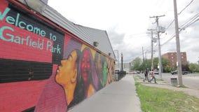 Wandgemälde in Garfield Park, hd Chicagos Illinois stock video