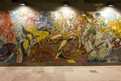 Wandgemälde in Lissabon-U-Bahnstation Lizenzfreies Stockbild
