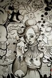 Wandgemälde in Schwarzweiss Stockfoto