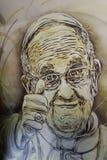 Wandgemälde von Papst Francis Stockfotos