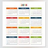 Wandkalender für 2017 von Sonntag bis Samstag Lizenzfreies Stockfoto