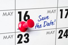Wandkalender mit einem roten Stift - 16. Mai Stockbild