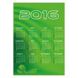Wandkalender mit 2016 einfacher grünen Wellen Lizenzfreie Stockfotografie