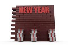 Wandkonzept des neuen Jahres 3d Stockfotos