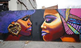 Wandkunst an der Aussicht-Höhennachbarschaft in Brooklyn Stockbilder