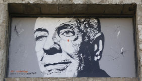 Wandkunst durch Jef Aerosol in Ushuaia, Argentinien Stockbilder
