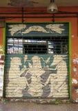 Wandkunst gemalt auf der Wand in der Mitte von Bolognace Stockbilder