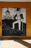 Wandkunst gemalt auf der Wand in der Mitte von Bolognace Stockbild