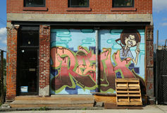 Wandkunst im roten Hakenabschnitt von Brooklyn Stockfoto