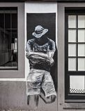 Mural of man with hat royalty free stock photo