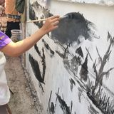 Wandmalerei in der Wand Lizenzfreie Stockfotos