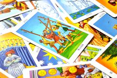 5 of Wands Tarot Card Conflict Opposition Battles stock illustration