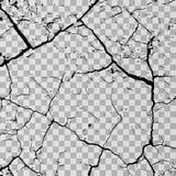Wandsprünge auf transparentem Hintergrund Zerbrechen Sie Flächenerde, Spalte gebrochene Einsturzillustration stock abbildung