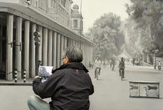 Wandstraße Phung Hung kennzeichnet altes Hanoi stockfotografie