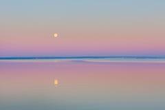 Wane over Sea. Moon over bay. Stock Image