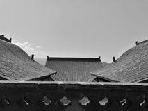 Wang Family Courtyard Rooftops Black en Wit Stock Foto's