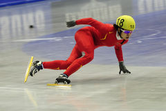 Wang Meng. Sofia - February 7: Wang Meng of China competes in the women's 1000 meters short track speed skating at the Samsung ISU World Cup on February 7 in Royalty Free Stock Photos