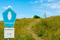 WANGEROOGE, GERMANY.  04th July 2017:  View of the sign of the nature reserve wadden sea Stock Image