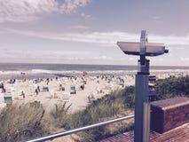 Wangerooge-Strand-Meer bewölkt Sonne Lizenzfreies Stockbild