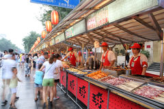 Wangfujing Snack street adjacent to Wangfujing street Stock Photo