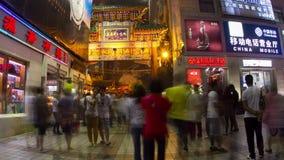 Wangfujing snack street at night 4k stock video