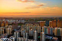 The Wangjing community in the sunset Royalty Free Stock Photography