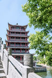 Wangyue Tower (Moon Tower) and Wangyue Bridge (Moon Bridge) royalty free stock photos