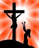 Wanhoop van Mary voor Jesus Crucifixion royalty-vrije illustratie