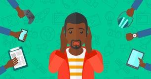 Wanhopige mens met gadgets royalty-vrije illustratie