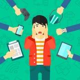 Wanhopige mens met gadgets stock illustratie