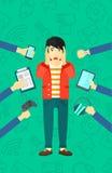 Wanhopige mens met gadgets vector illustratie
