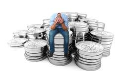Wanhopige mens op dollarmuntstuk Royalty-vrije Stock Foto's
