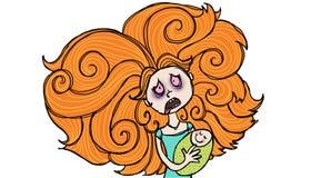 Wanhopige moeder stock illustratie
