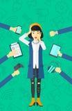 Wanhopige vrouw met gadgets vector illustratie