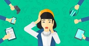 Wanhopige vrouw met gadgets royalty-vrije illustratie
